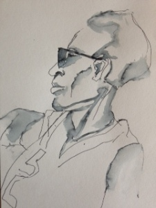 Afrique man. Len Art kunst: inkt met water op papier. Afmetingen 15 x 21. Humor en kado - portret.