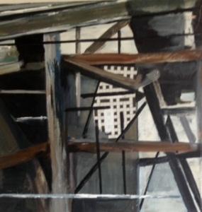 Boerderij geraamte. Len Art kunst: mixed media met olieverf, papier op doek. Afmetingen 40 x 40. Verval bouwval.