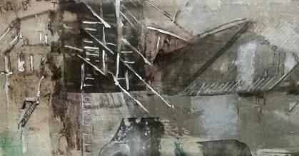 Boerderij Limburg. Len Kramer -Len Art kunst: mixed media, acryl en inkt op katoen. Afmetingen 14 x 40 cm. Verval bouwval.