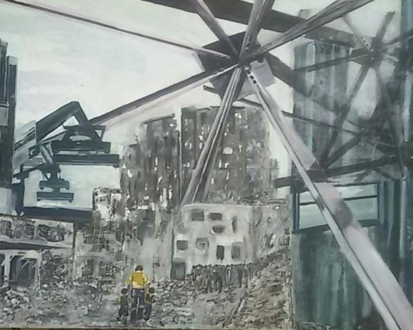 Bombardement. Len Art kunst: mixed media, acryl op canvas. Afmetingen 75 bij 1.15 meter. Oorlog en onrust.
