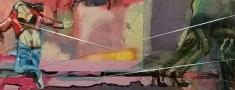 Basis voor logo kunst Len Art van Len Kramer: Dansende toerist en schaduwzijde. Kunst: mixed media, acryl, inkt, zilverdraad op karton. Afmetingen: 17 x 40 cm. Verval.