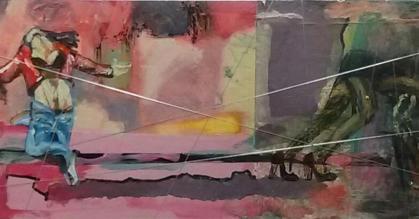 Dansende toerist en schaduwzijde. Len Art kunst: mixed media, acryl, inkt, zilverdraad op karton. Afmetingen: 17 x 40 cm. Verval.