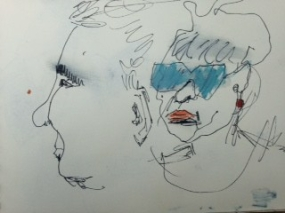 Echtpaar zonnebril. Len Kramer -Len Art kunst: inkt en acryl op papier. Afmetingen 15 x 20 cm. Humor en kado.