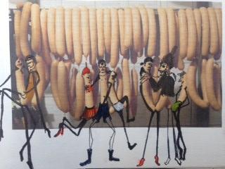 Het zal mij een worst wezen. Len Art kunst: inkt en acryl op papier. Afmetingen 15 x 20 cm. Humor.
