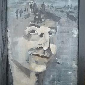 Portret In je hoofd. Len Art kunst: mixed media, acryl en inkt op hardboard. Afmetingen 34 x 45 cm. Mensen.