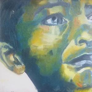 Portret Jongen angst. Len Art kunst: olieverf op hardboard. Afmetingen 20 x 20 cm. Mensen Kinderen.