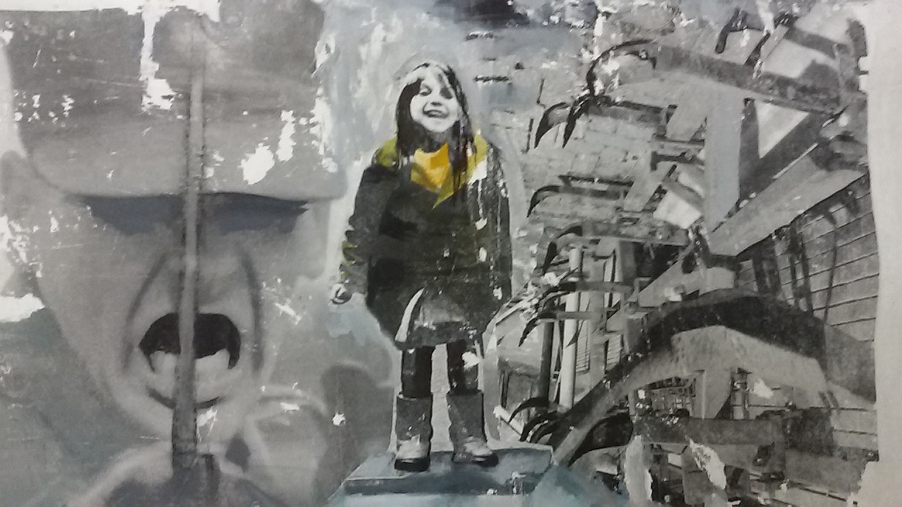 Lachend kind ondanks alles. Len Art kunst: mixed media, acryl en inkt op katoen. Afmetingen 30 x 50 cm. Verval systeem.