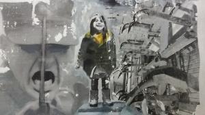 Lachend kind ondanks alles - Kinderen - systeem. Len Art kunst: mixed media, acryl en inkt op katoen. Afmetingen 30 x 50 cm