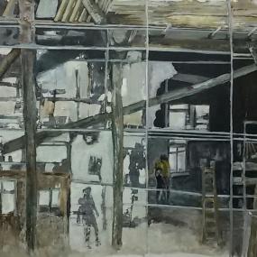 Leven in puin. Len Art kunst: mixed media, acryl op katoen. Afmetingen 1.05 x 1.50 meter. Verval.
