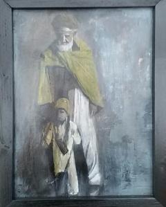 Man en kind. Len Art kunst: mixed media, inkt en acryl. Afmetingen 34 x 45 cm. Mensen Kinderen.