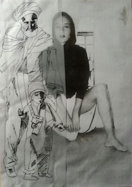 Man met kind en vrouw. Len Art kunst: mixed media inkt op papier. Afmetingen 35 X 25 cm. Mensen Kinderen.