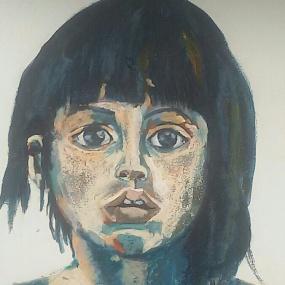 Portret Meisje: Waarom? Len Art kunst: olieverf op hardboard. Afmeting 20 x 20 cm. Mensen Kinderen.