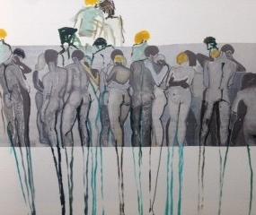 Samen lange benen. Len Art kunst: inkt en acryl op papier. Afmetingen 15 x 20 cm. Humor.