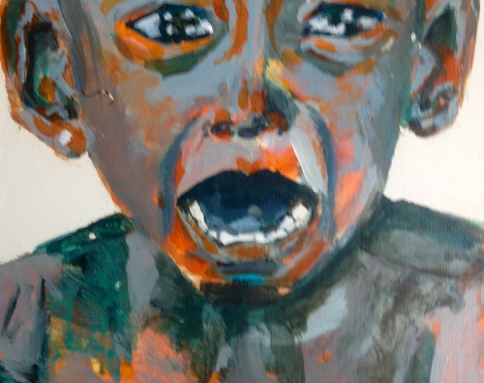 Schreeuw kind. Len Art kunst: acryl op board. Afmetingen 20 x 20. Mensen Kinderen.