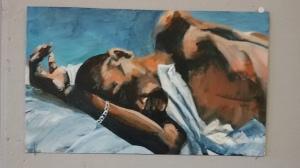 Slapende man. Len Art kunst: olieverf op karton. Afmetingen 17 x 40 cm. Mensen.