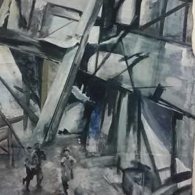 Spelende kinderen tussen puin. Len Art kunst: mixed media, acryl op katoen. Afmetingen 1.20 x 1.50 meter. Oorlog en onrust.