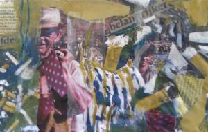 Tabak industrie en roken. Len Art kunst: mixed media. Verval systeem.