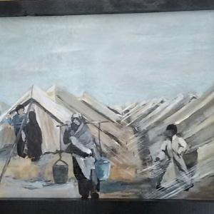 Tentenkamp 2 vluchtelingen emmers. Len Art kunst: acryl op hardboard. Afmetingen 34 x 45 cm. Oorlog en onrust.