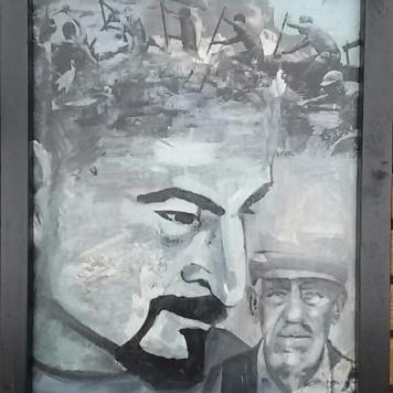 Terugblik oorlog. Len Art kunst: mixed media, acryl en inkt op hardboard. Afmetingen 34 x 45 cm. Mensen.
