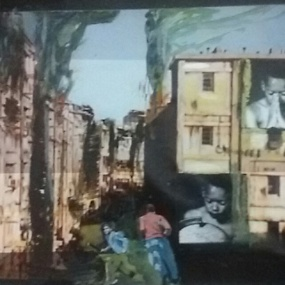 Weg van dat vuur. Len Art kunst: mixed media foto, acryl. Afmeting 35 x 25 cm. Oorlog en onrust.